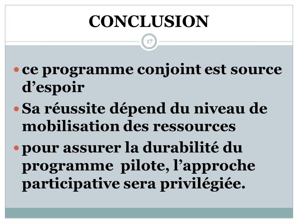 LES ACQUIS (suite) Développement dune approche multi sectorielle face aux VEF Meilleur accompagnement des PTF 16