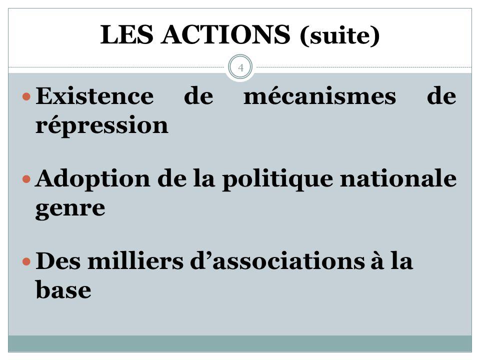 LES ACTIONS ENGAGÉES Textes législatifs favorables à la lutte contre les VEF Un Comité national de lutte contre la pratique de lexcision existe depuis