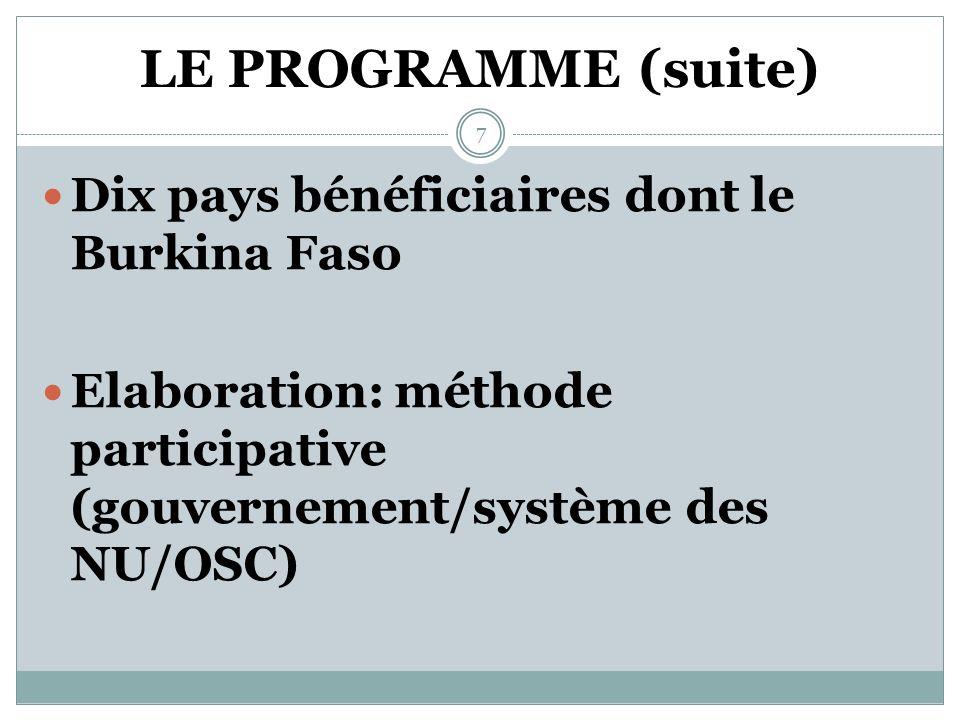 LE PROGRAMME CONJOINT VEF Un programme pilote de riposte contre les VEF Une composante du programme conjoint genre du système des Nations Unies 6