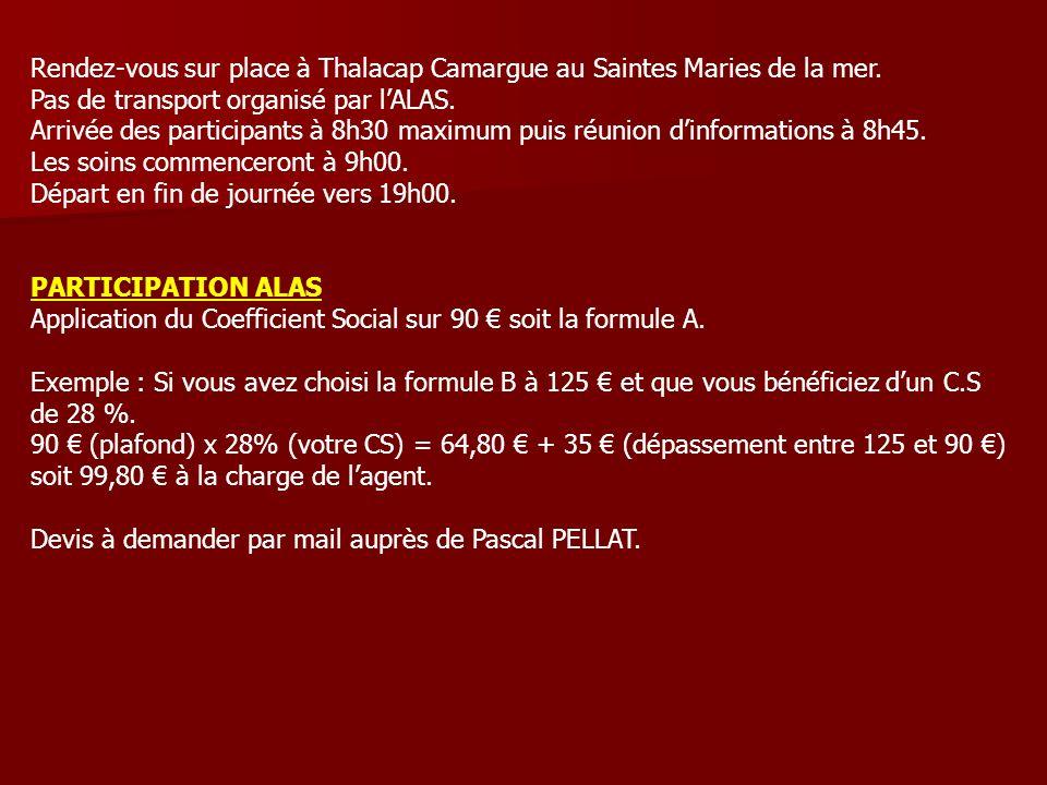 Rendez-vous sur place à Thalacap Camargue au Saintes Maries de la mer. Pas de transport organisé par lALAS. Arrivée des participants à 8h30 maximum pu