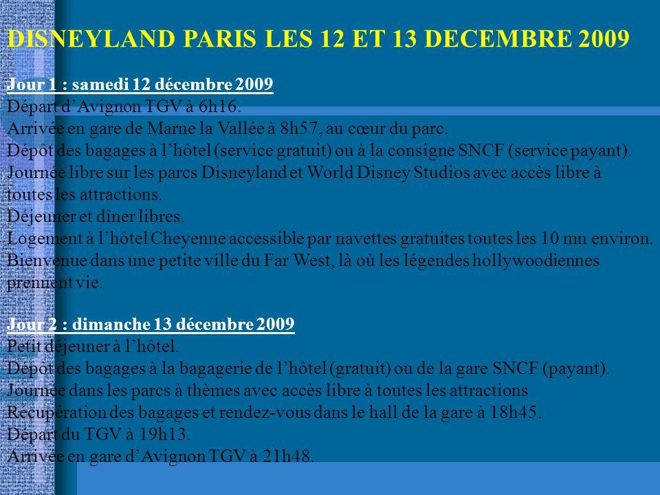 DISNEYLAND PARIS LES 12 ET 13 DECEMBRE 2009 Jour 1 : samedi 12 décembre 2009 Départ dAvignon TGV à 6h16.