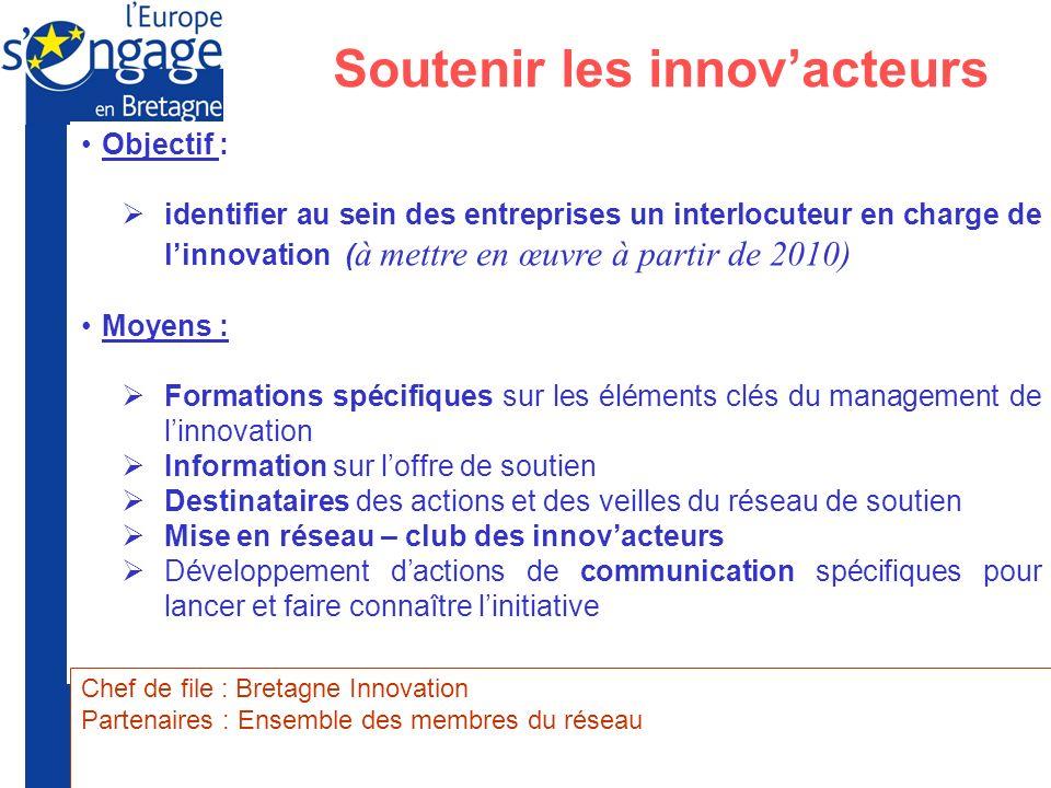 Préfecture de la Région Bretagne Union Européenne Soutenir les innovacteurs Objectif : identifier au sein des entreprises un interlocuteur en charge d