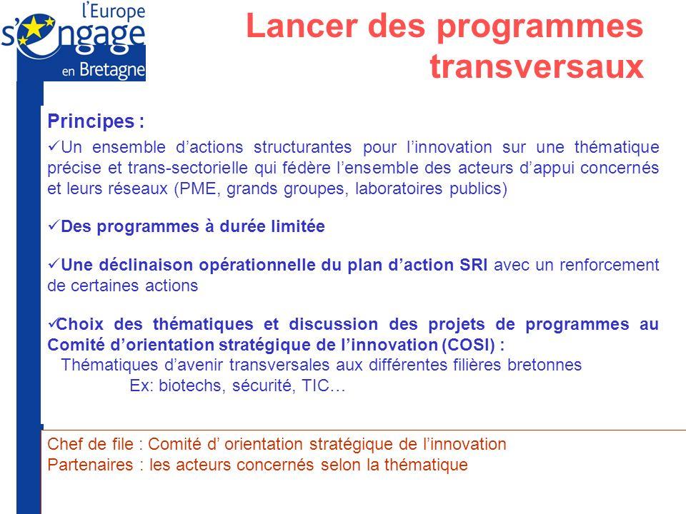 Préfecture de la Région Bretagne Union Européenne Principes : Un ensemble dactions structurantes pour linnovation sur une thématique précise et trans-