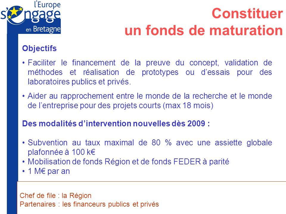Préfecture de la Région Bretagne Union Européenne Constituer un fonds de maturation Objectifs Faciliter le financement de la preuve du concept, valida
