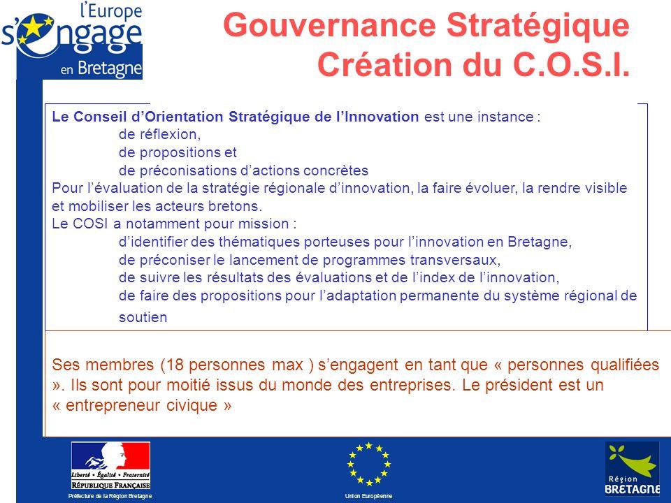 Préfecture de la Région Bretagne Union Européenne Le Conseil dOrientation Stratégique de lInnovation est une instance : de réflexion, de propositions