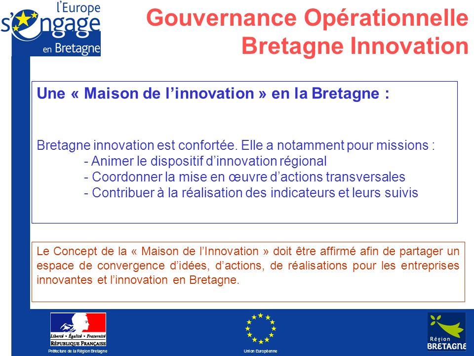 Préfecture de la Région Bretagne Union Européenne Une « Maison de linnovation » en la Bretagne : Bretagne innovation est confortée. Elle a notamment p