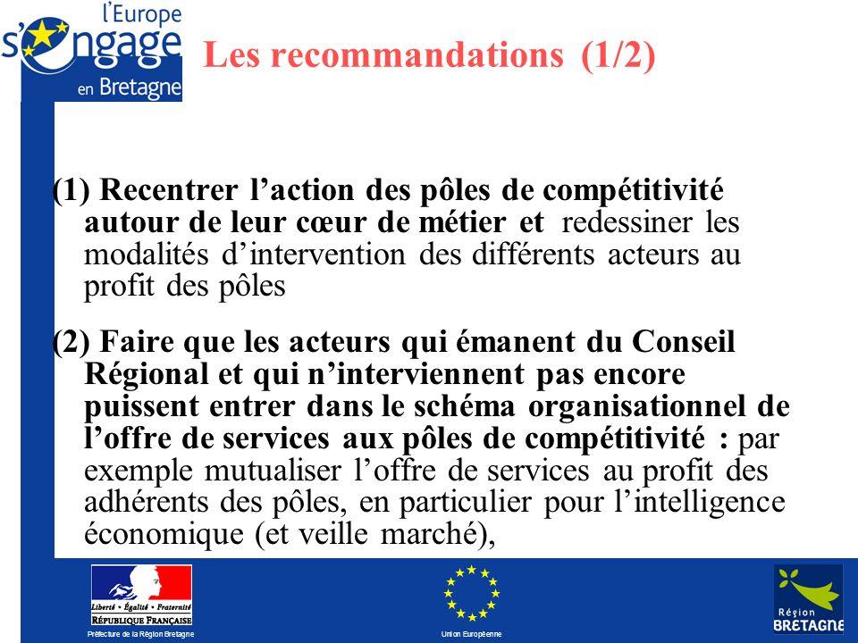 Préfecture de la Région Bretagne Union Européenne Les recommandations (1/2) (1) Recentrer laction des pôles de compétitivité autour de leur cœur de mé