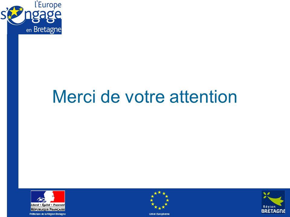 Préfecture de la Région Bretagne Union Européenne Merci de votre attention