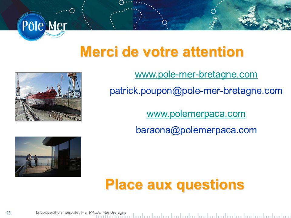 23 la coopération interpôle : Mer PACA, Mer Bretagne www.pole-mer-bretagne.com patrick.poupon@pole-mer-bretagne.com www.polemerpaca.com baraona@polemerpaca.com Merci de votre attention Place aux questions