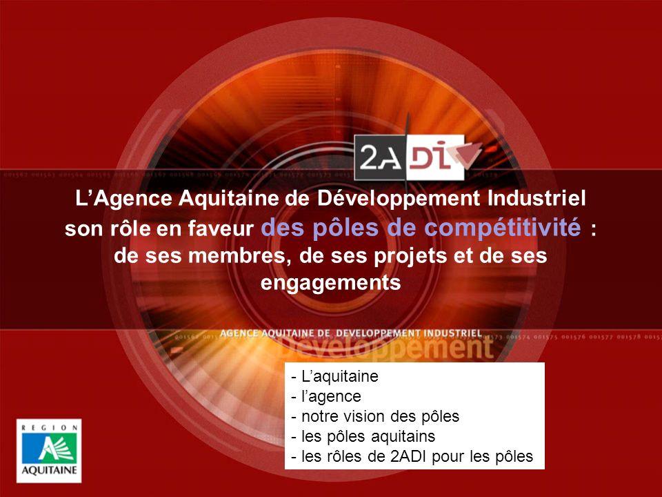 1Panorama industriel de l Aquitaine - avril 2007 1 LAgence Aquitaine de Développement Industriel son rôle en faveur des pôles de compétitivité : de ses membres, de ses projets et de ses engagements - Laquitaine - lagence - notre vision des pôles - les pôles aquitains - les rôles de 2ADI pour les pôles