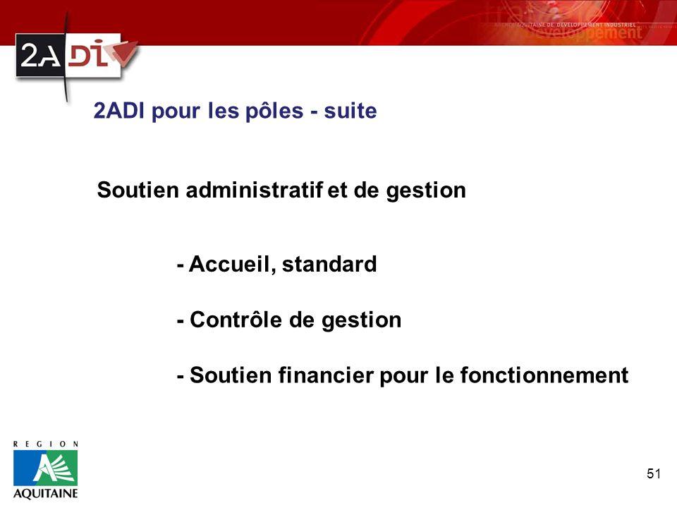 51 Soutien administratif et de gestion - Accueil, standard - Contrôle de gestion - Soutien financier pour le fonctionnement 2ADI pour les pôles - suit