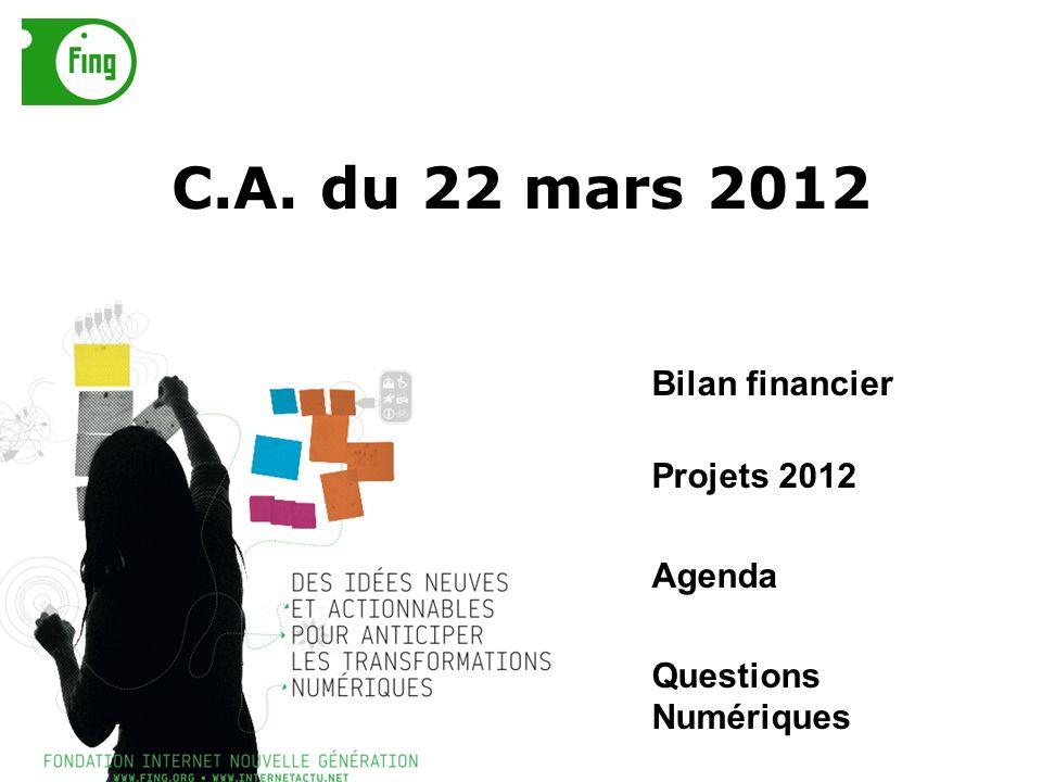 C.A. du 22 mars 2012 Bilan financier Projets 2012 Agenda Questions Numériques