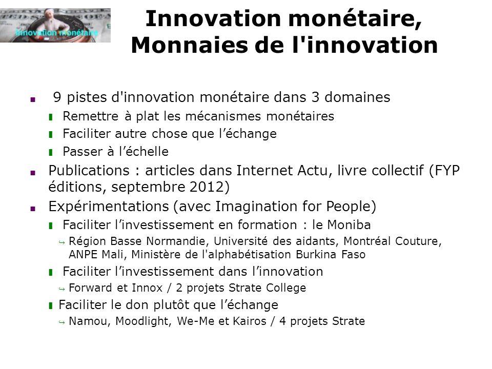 Innovation monétaire, Monnaies de l'innovation 9 pistes d'innovation monétaire dans 3 domaines Remettre à plat les mécanismes monétaires Faciliter aut