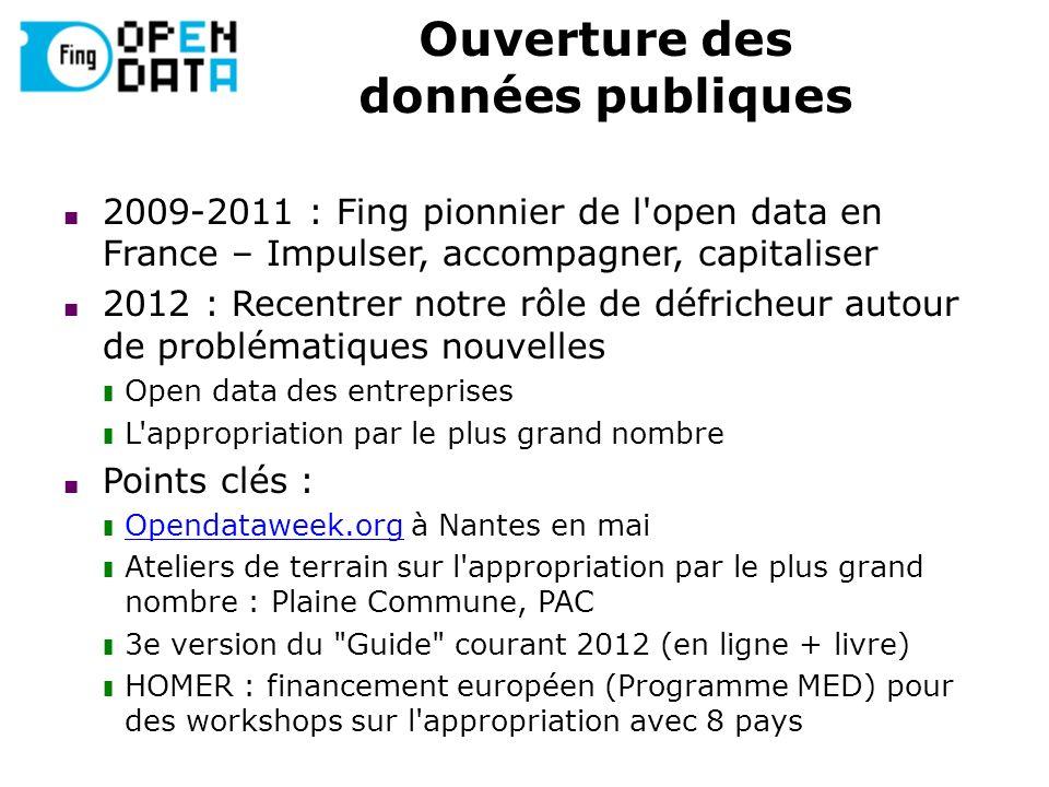 Ouverture des données publiques 2009-2011 : Fing pionnier de l'open data en France – Impulser, accompagner, capitaliser 2012 : Recentrer notre rôle de