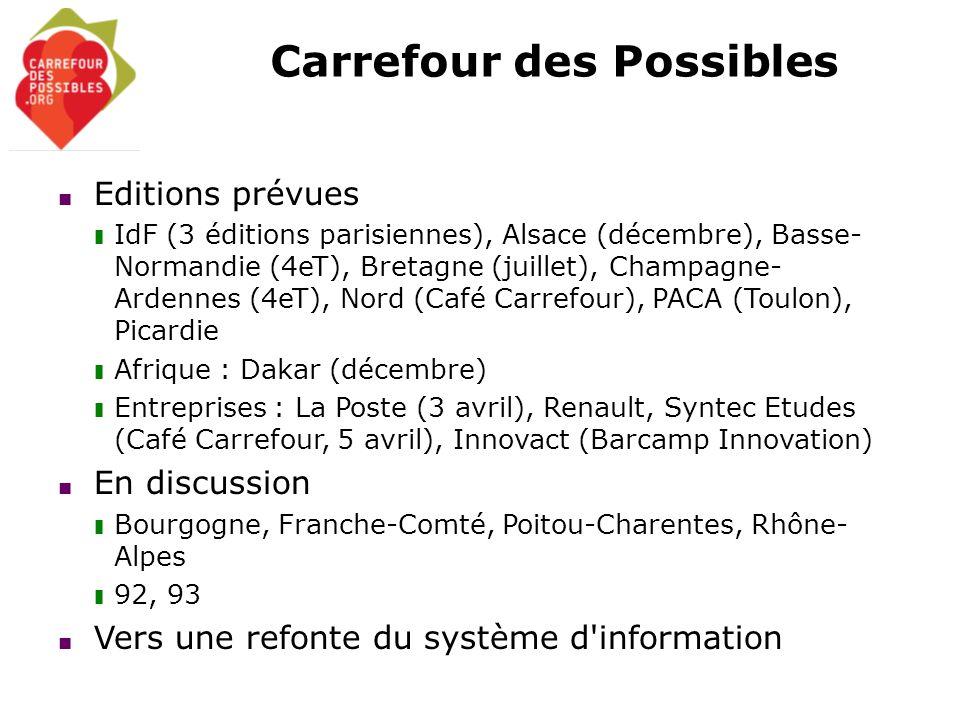 Carrefour des Possibles Editions prévues IdF (3 éditions parisiennes), Alsace (décembre), Basse- Normandie (4eT), Bretagne (juillet), Champagne- Arden