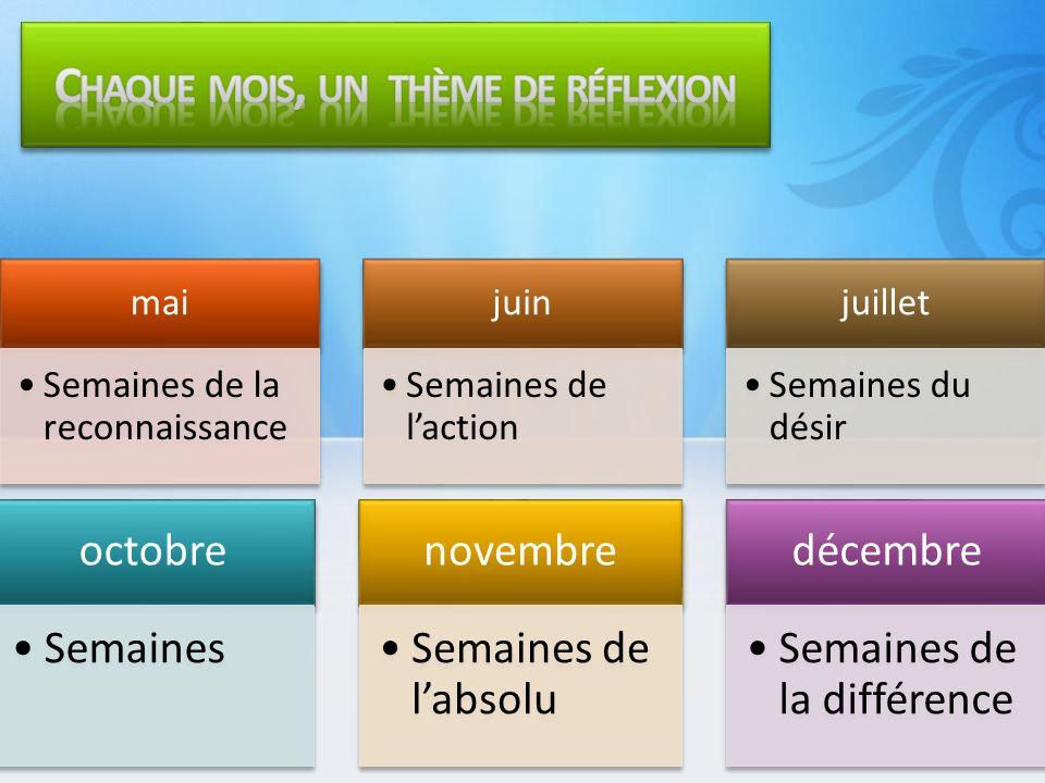 mai Semaines de la reconnaissance juin Semaines de laction juillet Semaines du désir octobre Semaines novembre Semaines de labsolu décembre Semaines de la différence
