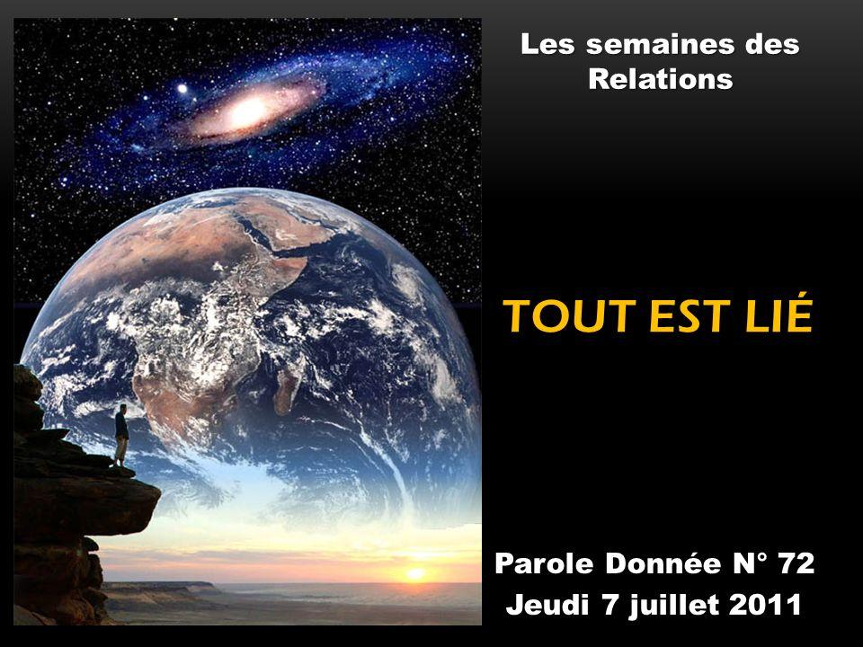 TOUT EST LIÉ Parole Donnée N° 72 Jeudi 7 juillet 2011 Les semaines des Relations