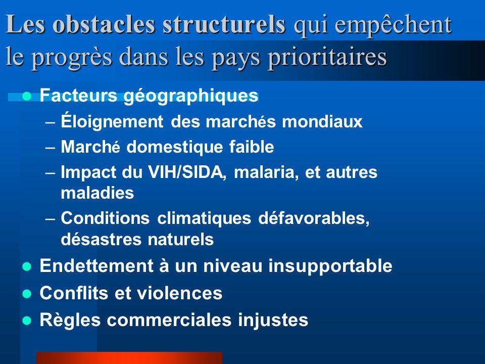 Les obstacles structurels doivent être dépassés pour atteindre les Objectifs Les principaux débats et mesures prises au cours des années 1990s : –Stab