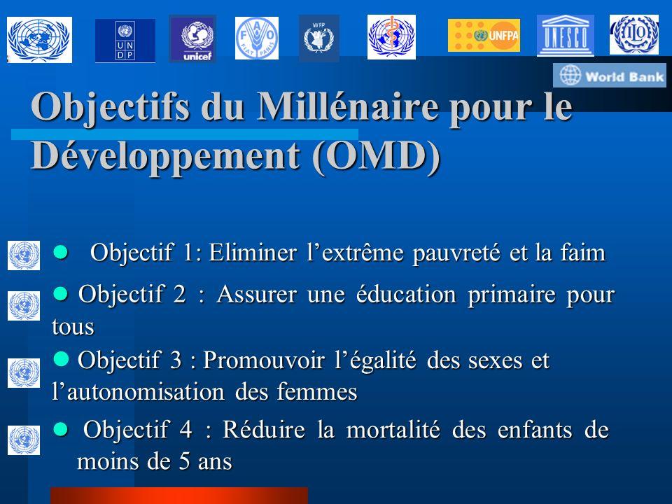 Que sont les Objectifs du Millénaire pour le développement ? Les Objectifs ont été définis lors de la Déclaration du Millénaire en Septembre 2000– un