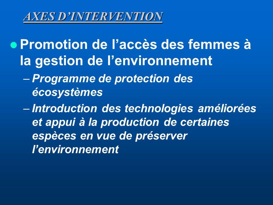AXES DINTERVENTION Promotion de laccès des femmes aux crédits et aux moyens de production –Renforcement des caisses féminines dépargne et de crédit –A