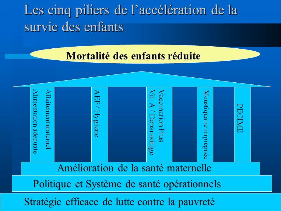Interventions efficaces et peu coûteuses Paludisme: Moustiquaire imprégnée, TTT adéquat Rougeole: Vaccination Carences nutritionnelles: Allaitement ma