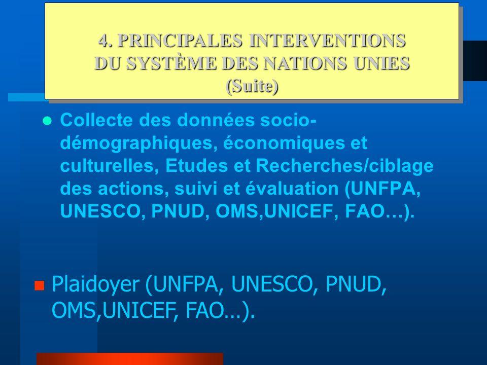 Appui à la scolarisation et à léducation (UNESCO, UNFPA, PNUD, PAM, UNICEF...) Appui aux activités génératrices de revenus (PNUD, FAO, PAM...) Constru