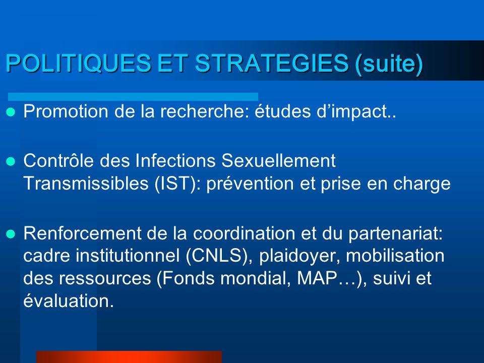 POLITIQUES ET STRATEGIES 6 axes stratégiques: Renforcement de la prévention de la transmission: sexuelle, sanguine et mère- enfant Amélioration de la