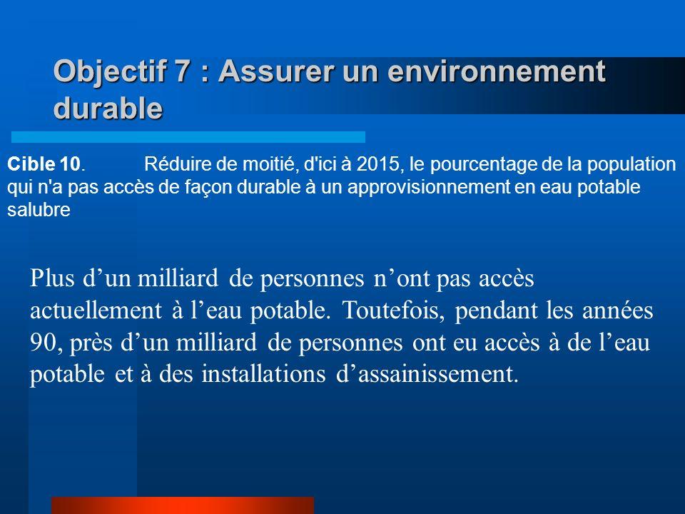 Objectif 7 : Assurer un environnement durable Cible 9.Intégrer les principes du développement durable dans les politiques nationales et inverser la te