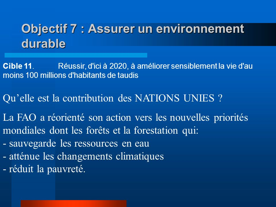 Objectif 7 : Assurer un environnement durable Cible 10.Réduire de moitié, d'ici à 2015, le pourcentage de la population qui n'a pas accès de façon dur