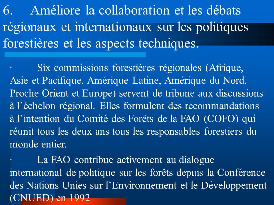 5.Renforcer les cadres institutionnel, juridique et financier des pays dans le secteur forestier. · Crée ou révise des structures normatives et organi