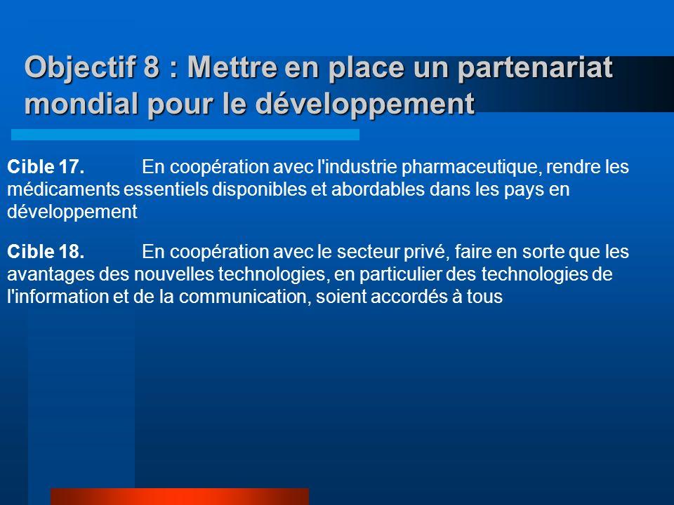 Objectif 8 : Mettre en place un partenariat mondial pour le développement Cible 14.Répondre aux besoins particuliers des petits États insulaires en dé