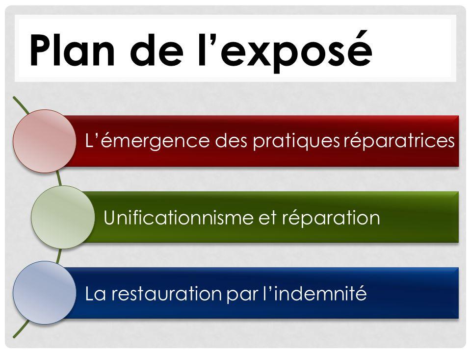 Plan de lexposé Lémergence des pratiques réparatrices Unificationnisme et réparation La restauration par lindemnité