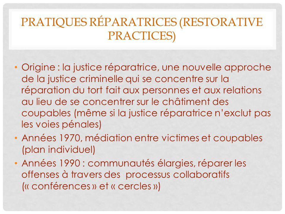PRATIQUES RÉPARATRICES (RESTORATIVE PRACTICES) Origine : la justice réparatrice, une nouvelle approche de la justice criminelle qui se concentre sur l