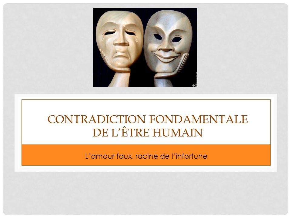 CONTRADICTION FONDAMENTALE DE LÊTRE HUMAIN Lamour faux, racine de linfortune