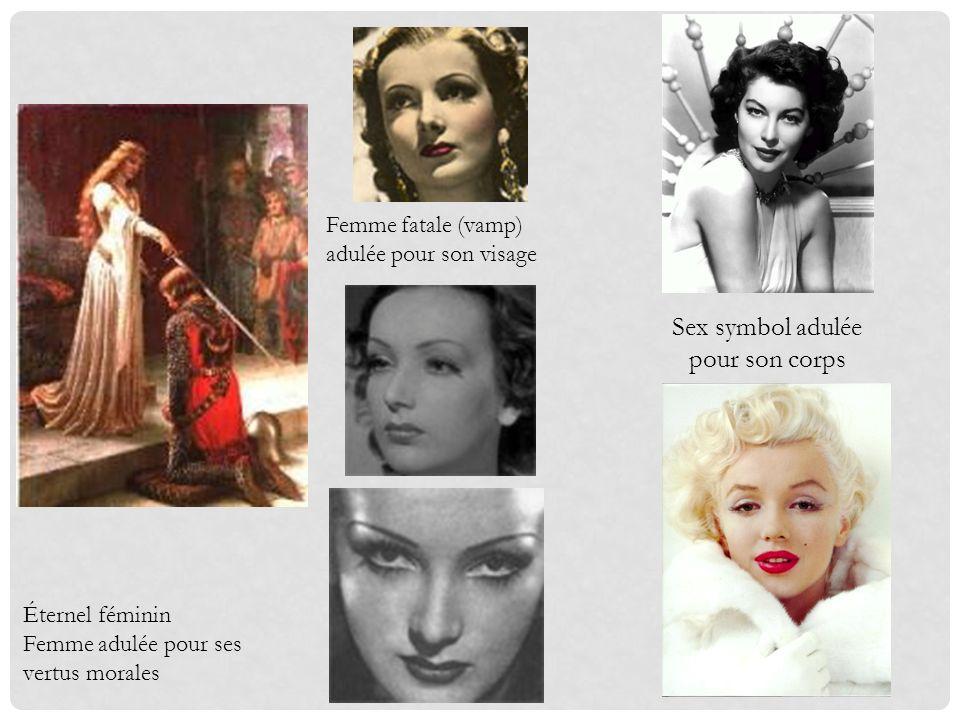 Éternel féminin Femme adulée pour ses vertus morales Femme fatale (vamp) adulée pour son visage Sex symbol adulée pour son corps
