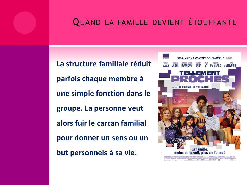 Q UAND LA FAMILLE DEVIENT ÉTOUFFANTE La structure familiale réduit parfois chaque membre à une simple fonction dans le groupe. La personne veut alors