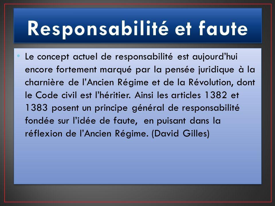 Le concept actuel de responsabilité est aujourdhui encore fortement marqué par la pensée juridique à la charnière de lAncien Régime et de la Révolutio