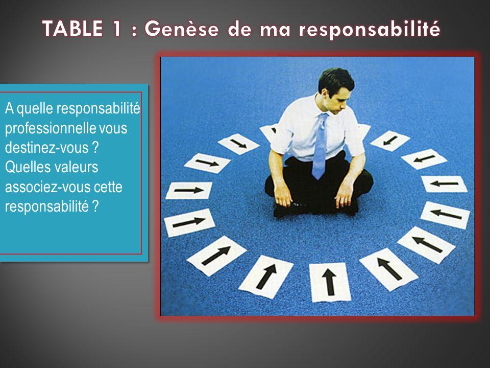 A quelle responsabilité professionnelle vous destinez-vous ? Quelles valeurs associez-vous cette responsabilité ?