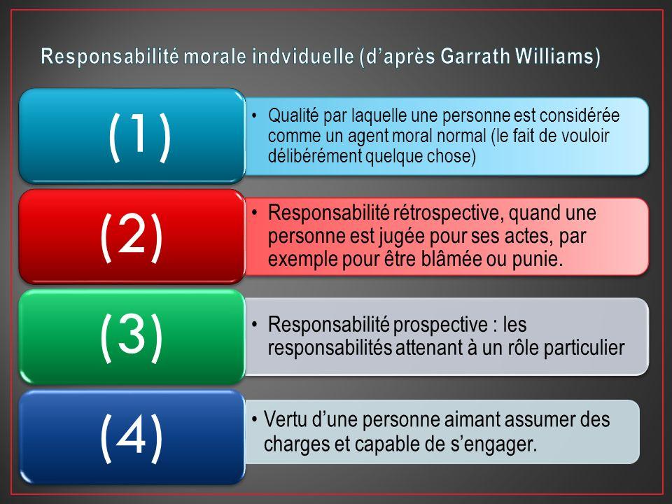 Qualité par laquelle une personne est considérée comme un agent moral normal (le fait de vouloir délibérément quelque chose) (1) Responsabilité rétros