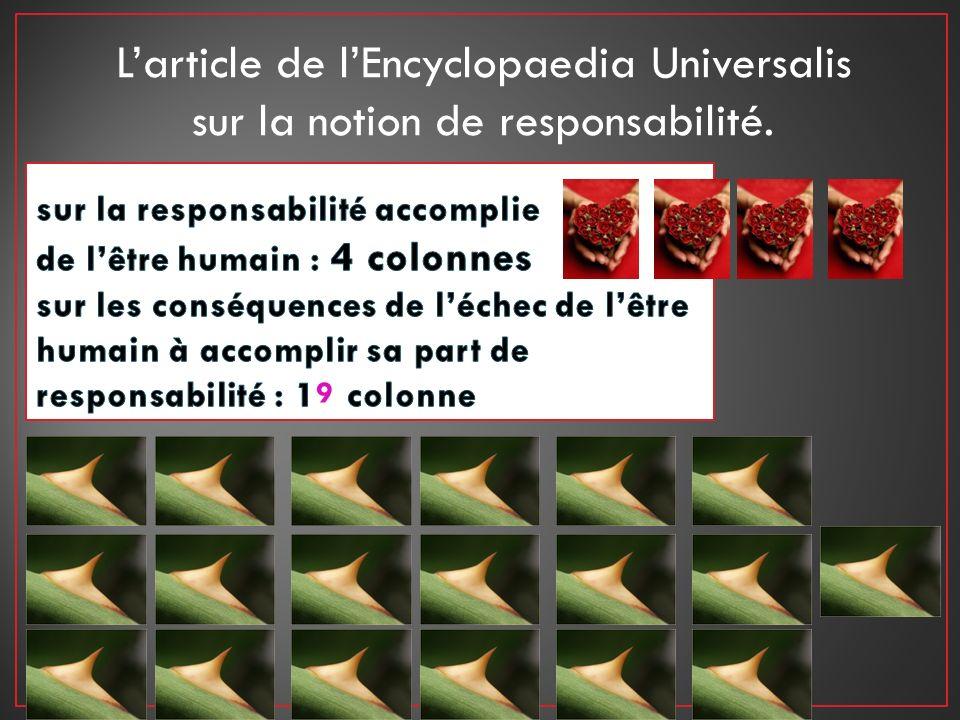 Larticle de lEncyclopaedia Universalis sur la notion de responsabilité. 9