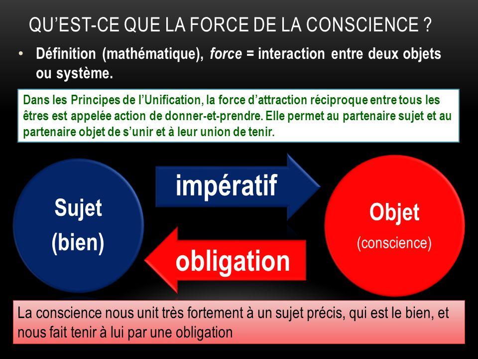 QUEST-CE QUE LA FORCE DE LA CONSCIENCE ? Définition (mathématique), force = interaction entre deux objets ou système. Objet (conscience) Sujet (bien)