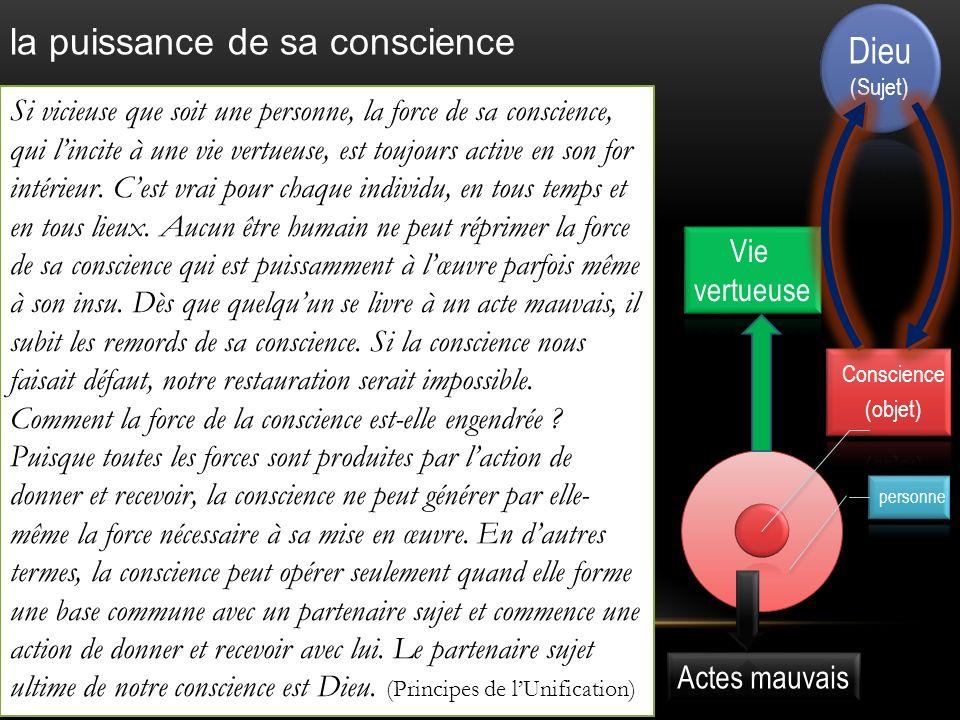 Conscience (objet) personne Si vicieuse que soit une personne, la force de sa conscience, qui lincite à une vie vertueuse, est toujours active en son for intérieur.