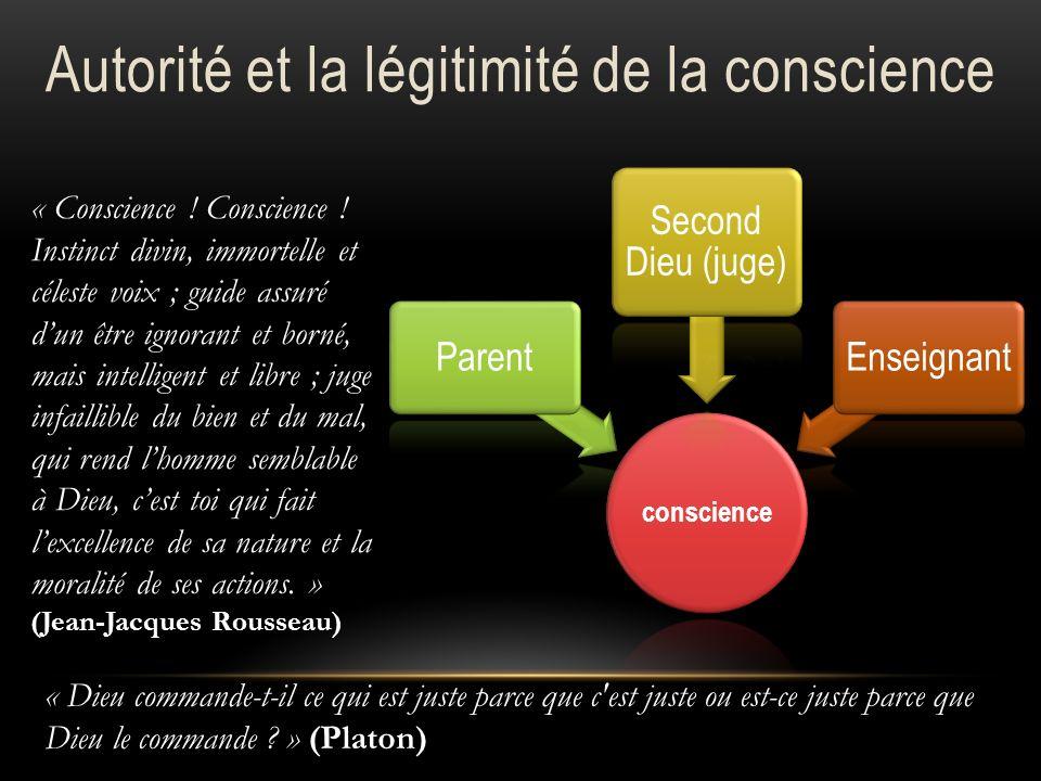 conscience Parent Second Dieu (juge) Enseignant « Conscience ! Conscience ! Instinct divin, immortelle et céleste voix ; guide assuré dun être ignoran