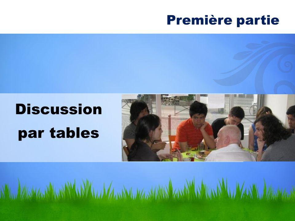 Discussion par tables Première partie