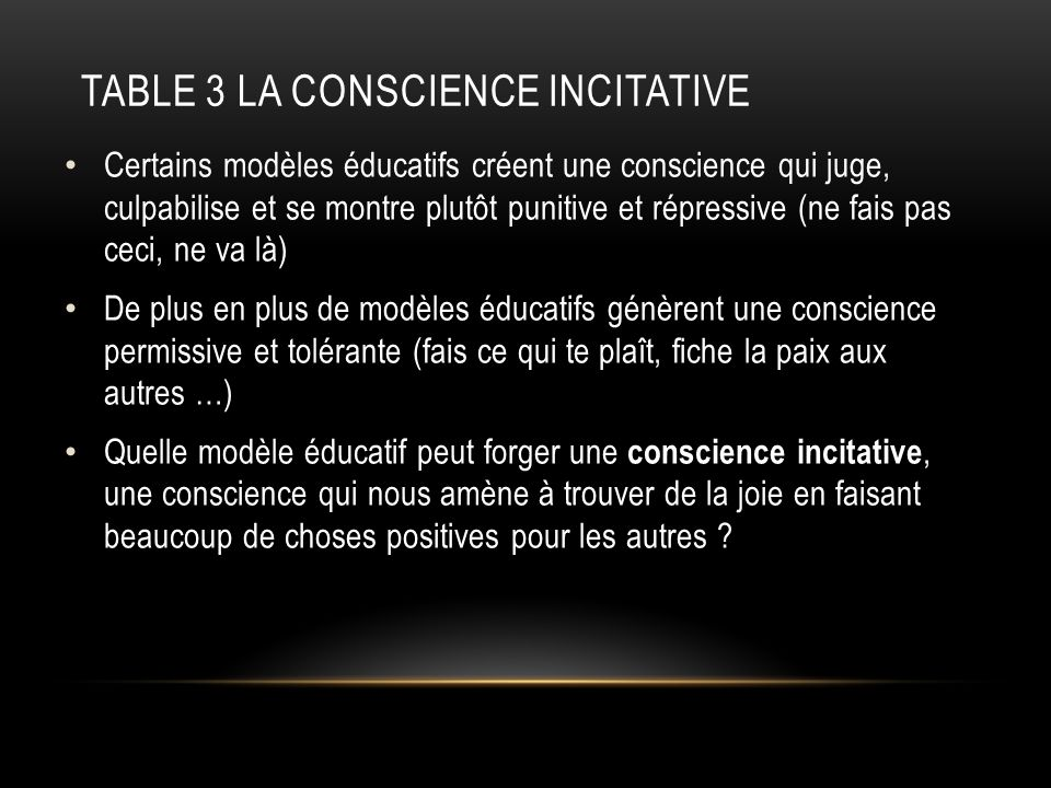 TABLE 3 LA CONSCIENCE INCITATIVE Certains modèles éducatifs créent une conscience qui juge, culpabilise et se montre plutôt punitive et répressive (ne