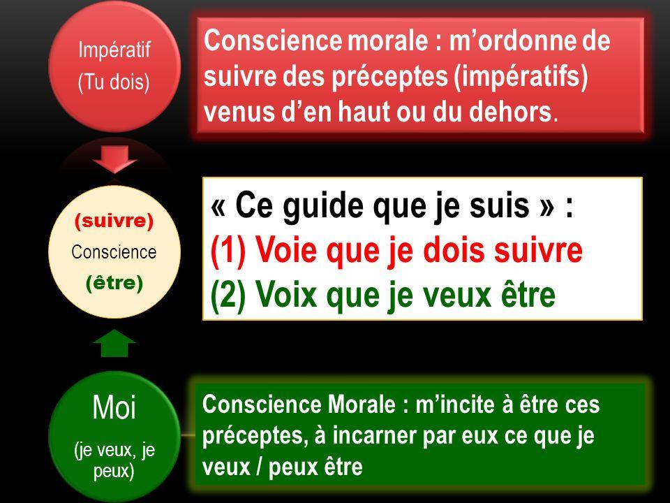 (suivre) Conscience (être) Impératif (Tu dois) Moi (je veux, je peux) Conscience morale : mordonne de suivre des préceptes (impératifs) venus den haut