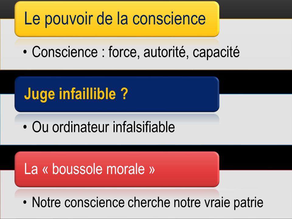 Conscience : force, autorité, capacité Le pouvoir de la conscience Ou ordinateur infalsifiable Juge infaillible .