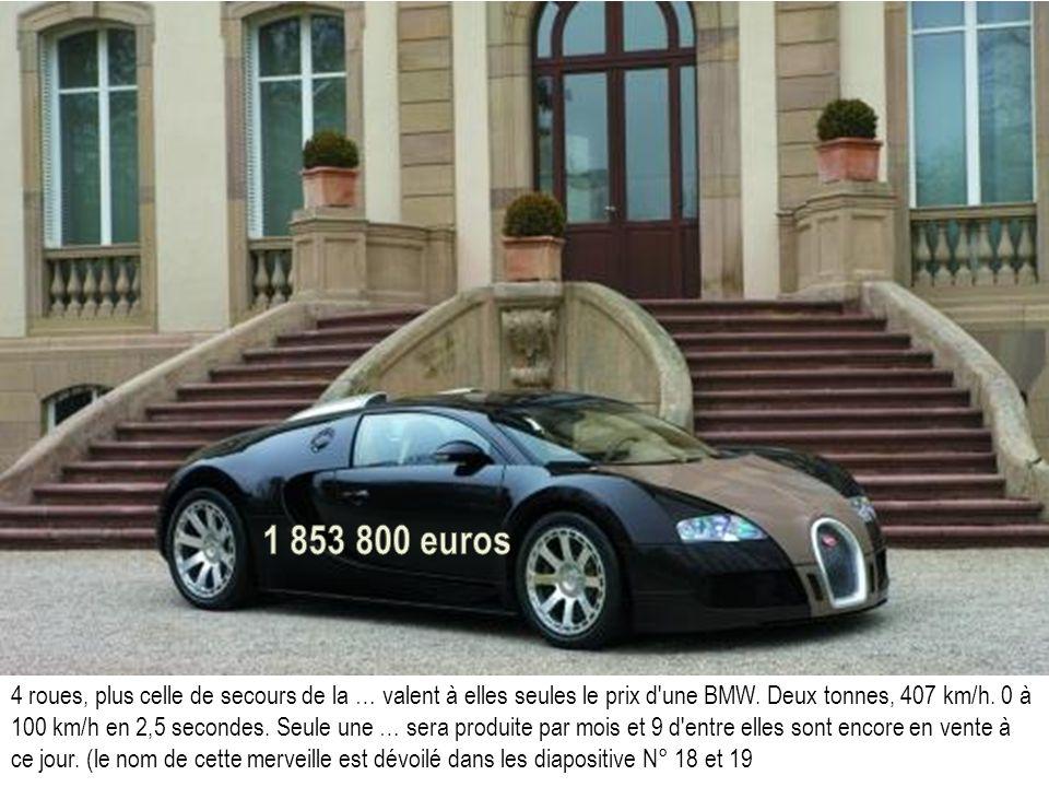4 roues, plus celle de secours de la … valent à elles seules le prix d'une BMW. Deux tonnes, 407 km/h. 0 à 100 km/h en 2,5 secondes. Seule une … sera
