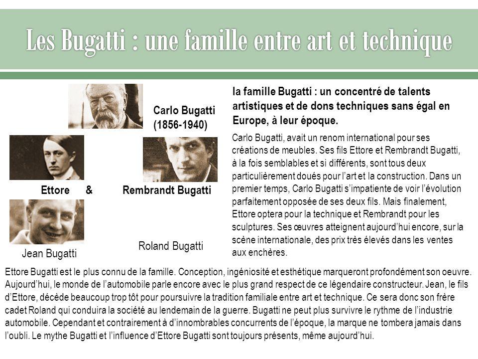 Carlo Bugatti, avait un renom international pour ses créations de meubles. Ses fils Ettore et Rembrandt Bugatti, à la fois semblables et si différents