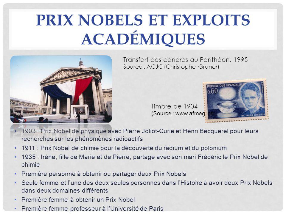 PRIX NOBELS ET EXPLOITS ACADÉMIQUES 1903 : Prix Nobel de physique avec Pierre Joliot-Curie et Henri Becquerel pour leurs recherches sur les phénomènes
